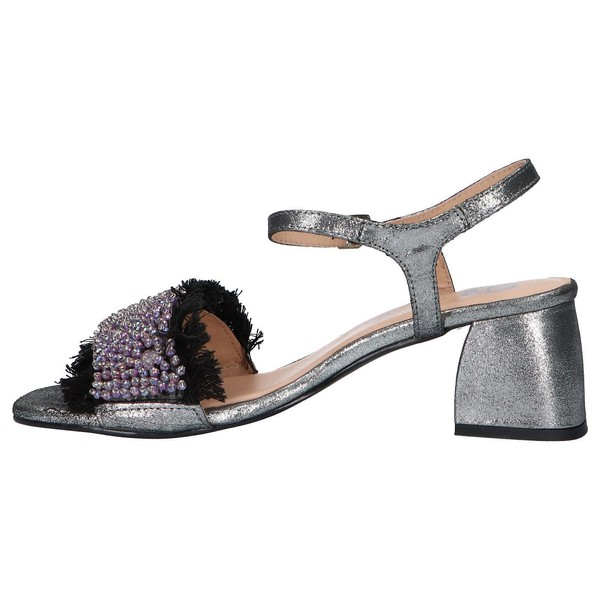 Sandalia tacón piel mujer - negro