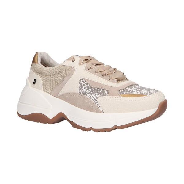 Sneaker piel/textil mujer - beige