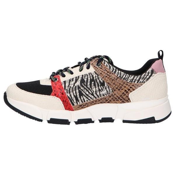 Sneaker piel/textil mujer - multicolor