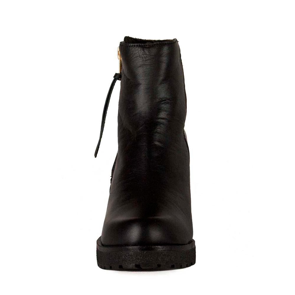 9cm Botín tacón piel mujer - negro