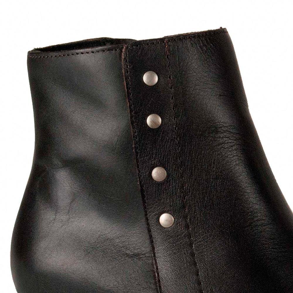 8cm Botín tacón piel mujer - marrón
