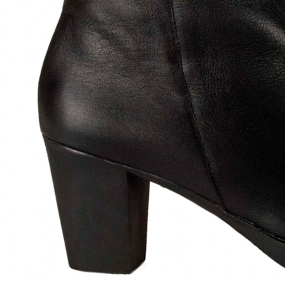 8cm Botín tacón piel mujer - negro
