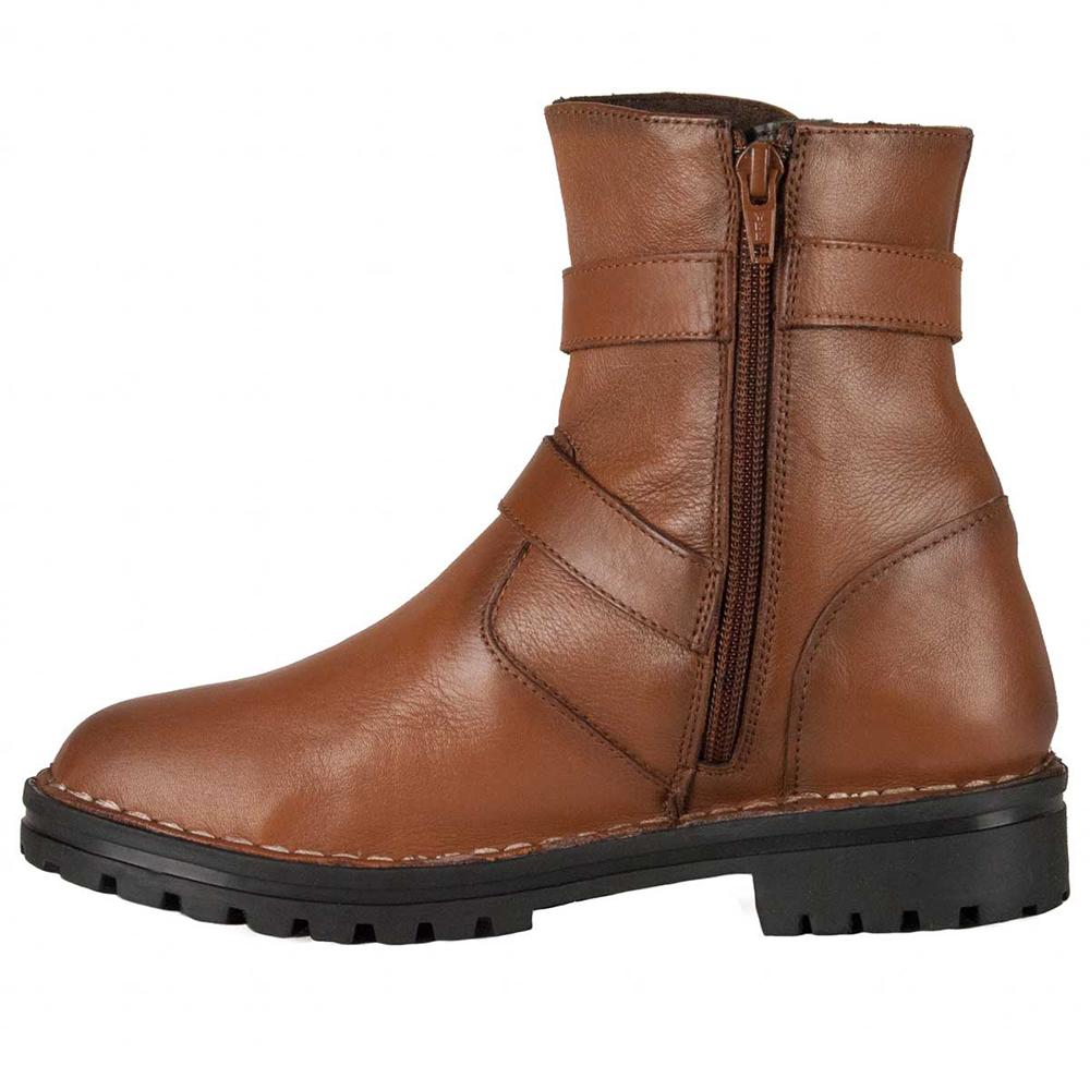 4cm Bota tacón piel mujer - marrón