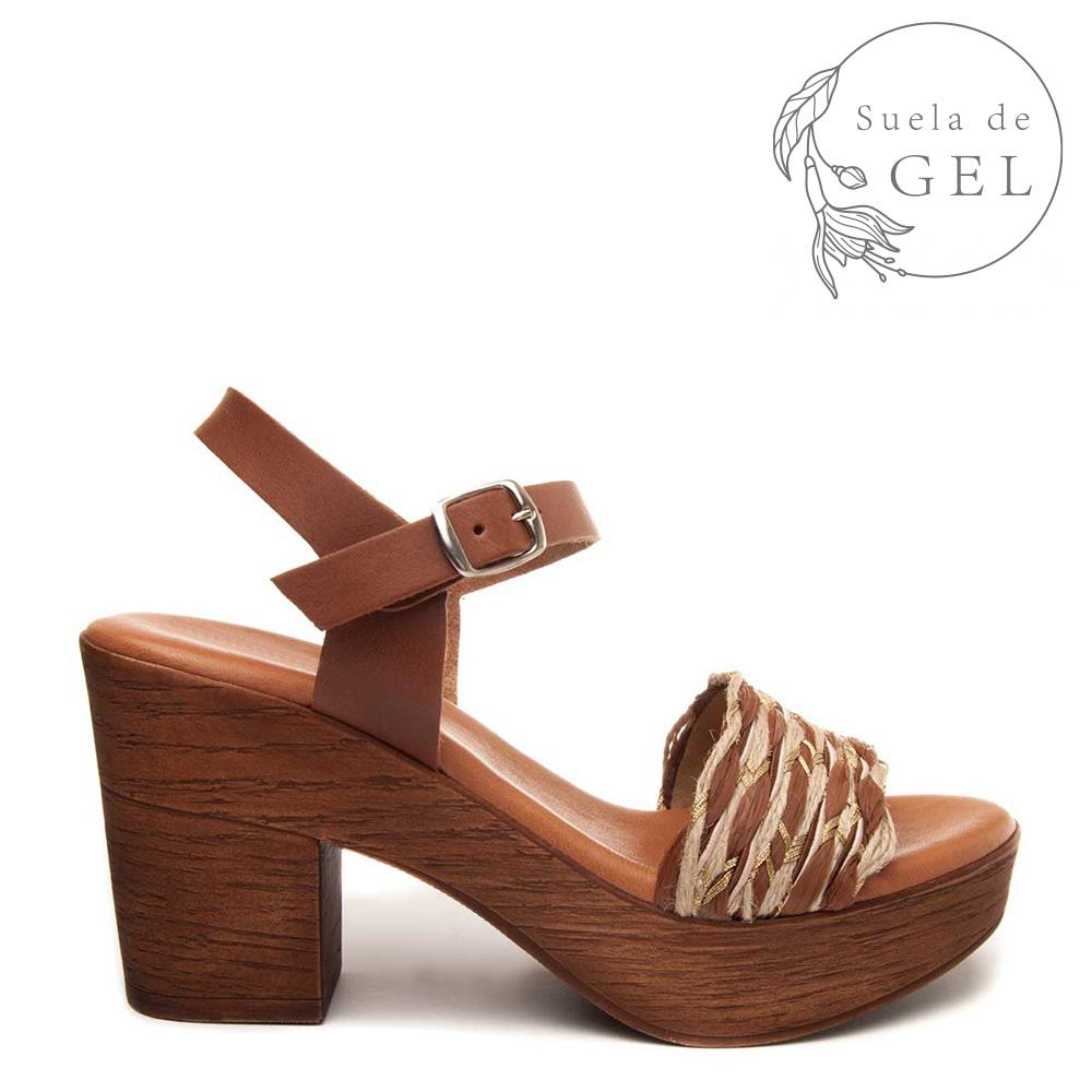 9cm Sandalia tacón piel mujer - marrón