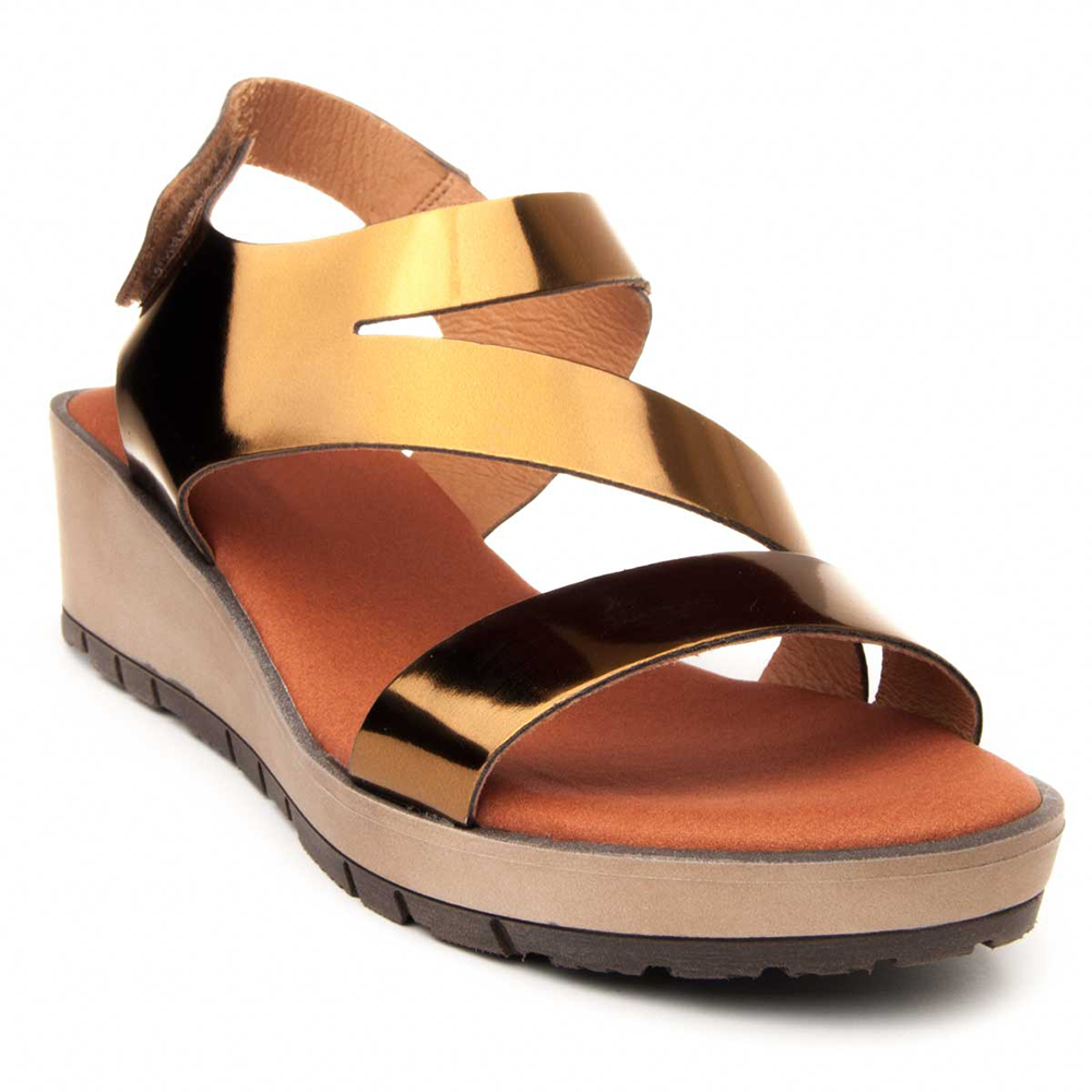 5cm Sandalia cuña piel mujer - bronce
