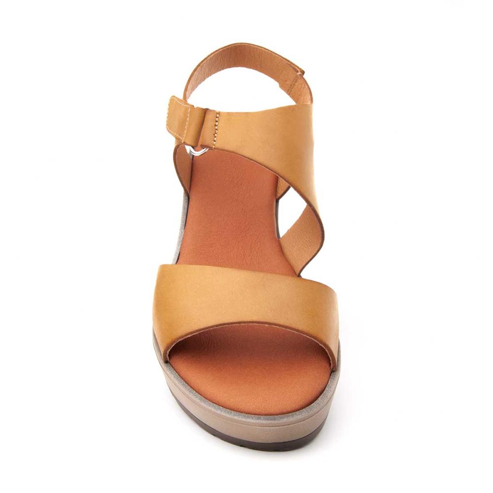 6,5cm Sandalia cuña piel mujer - mostaza
