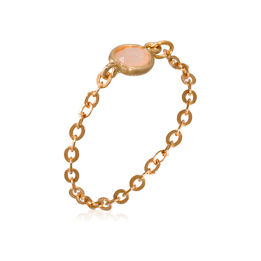 Anillo bronce dorado mujer - aventurina rosa