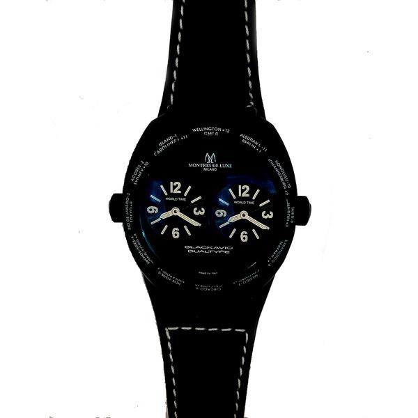 Reloj analógico piel unisex - negro