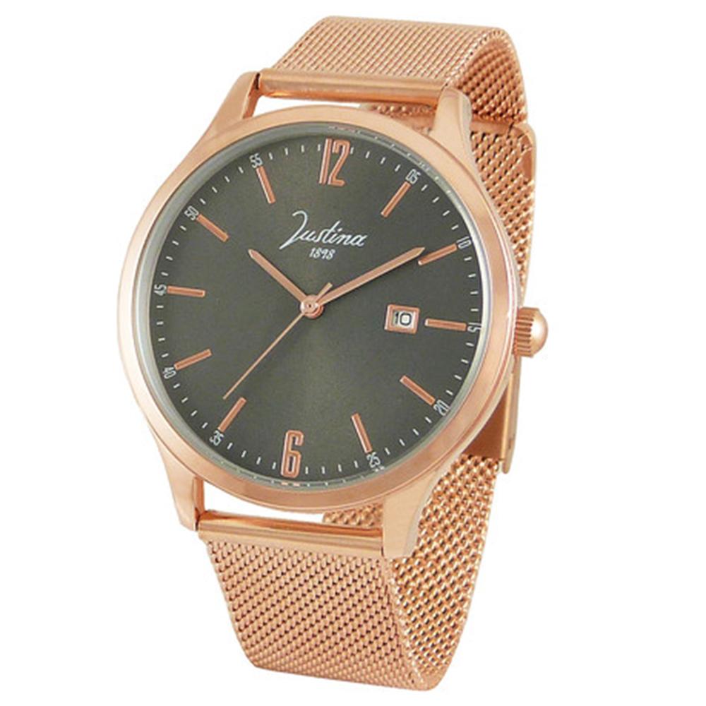 Reloj analógico hombre acero - rosado
