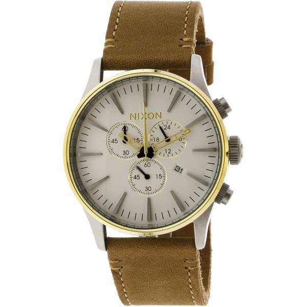 Reloj analógico piel hombre - dorado/crema