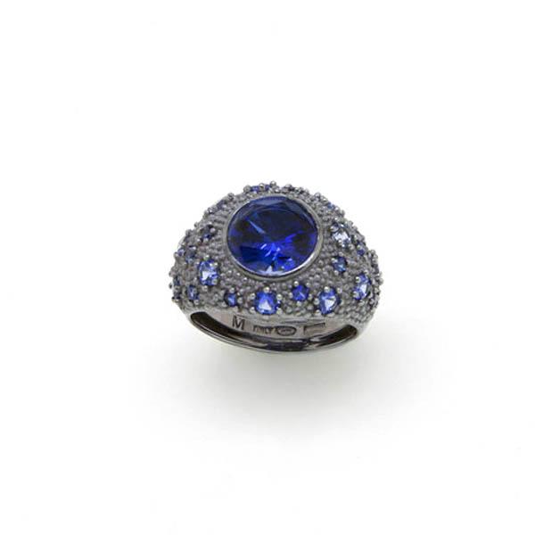 Anillo ajustable plata mujer t.14/15/16 - azul