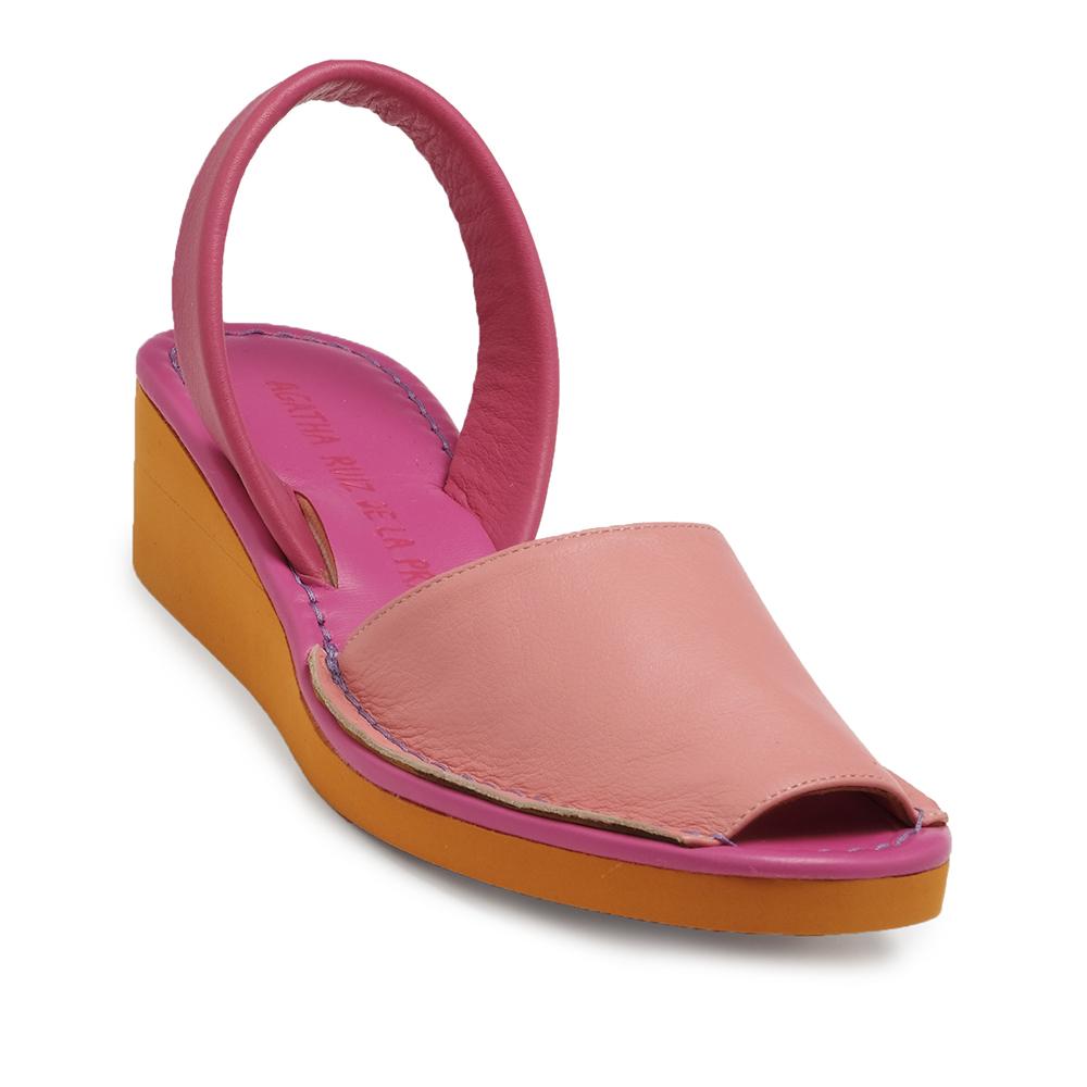 4,5cm Menorquina cuña piel mujer - rosa