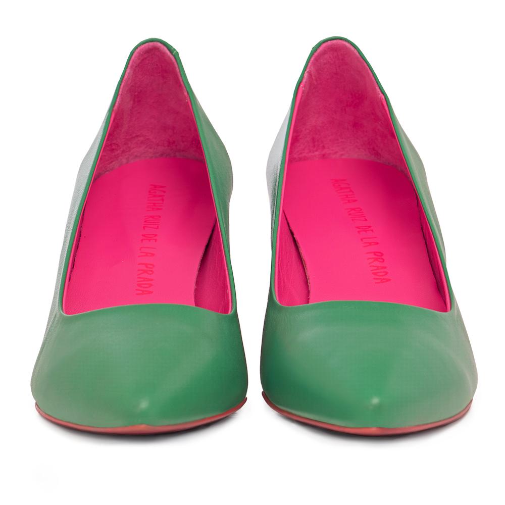 6,5cm Zapato salón tacón piel mujer - verde claro