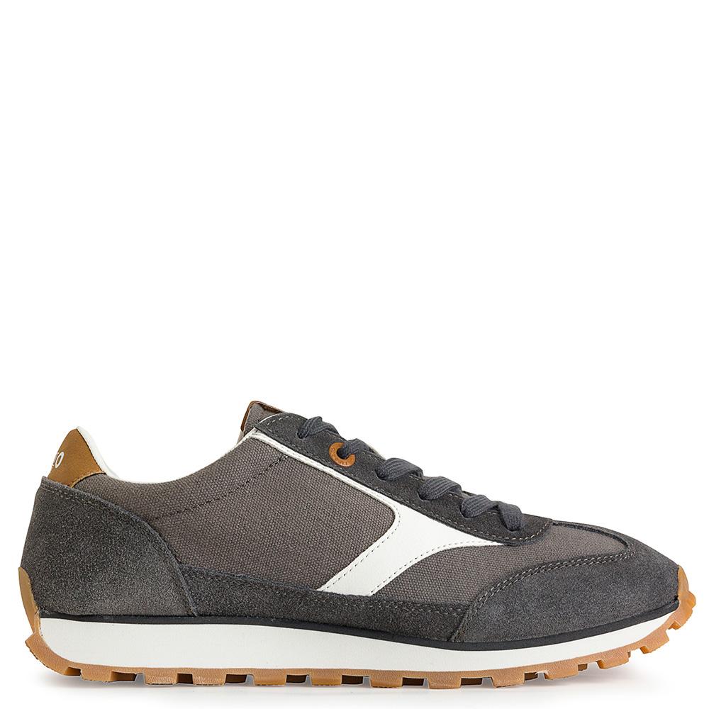 Sneaker piel/textil hombre - gris