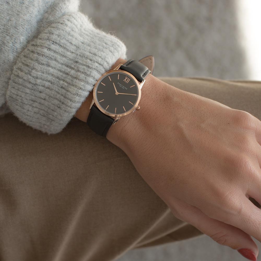 Reloj analógico cuarzo piel mujer - negro