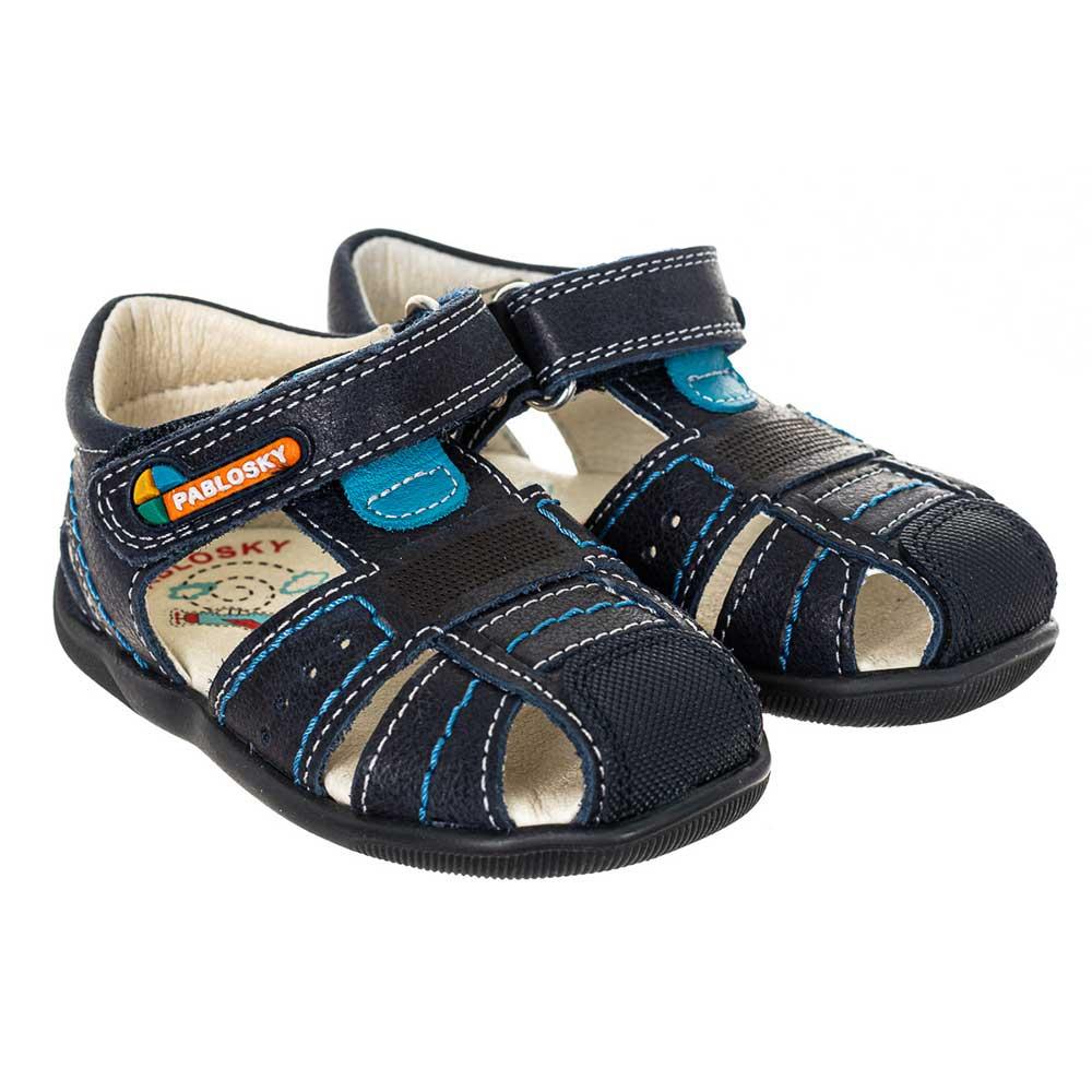 Sandalia piel bebé - azul marino