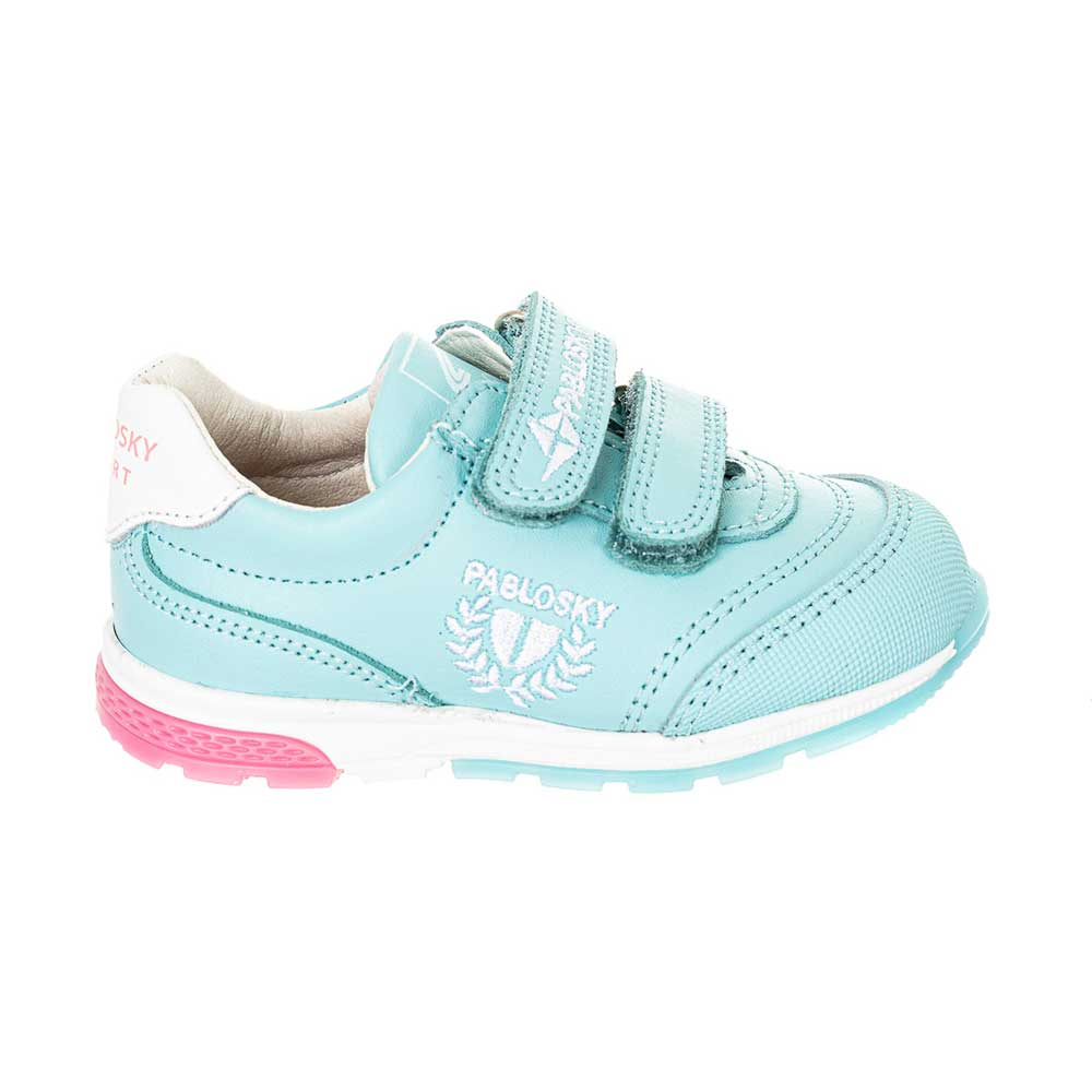 Zapatilla piel bebé - azul celeste