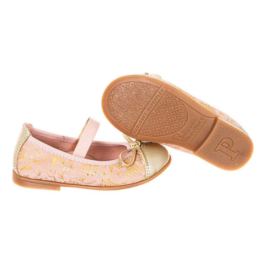 Merceditas piel infantil - rosa/dorado