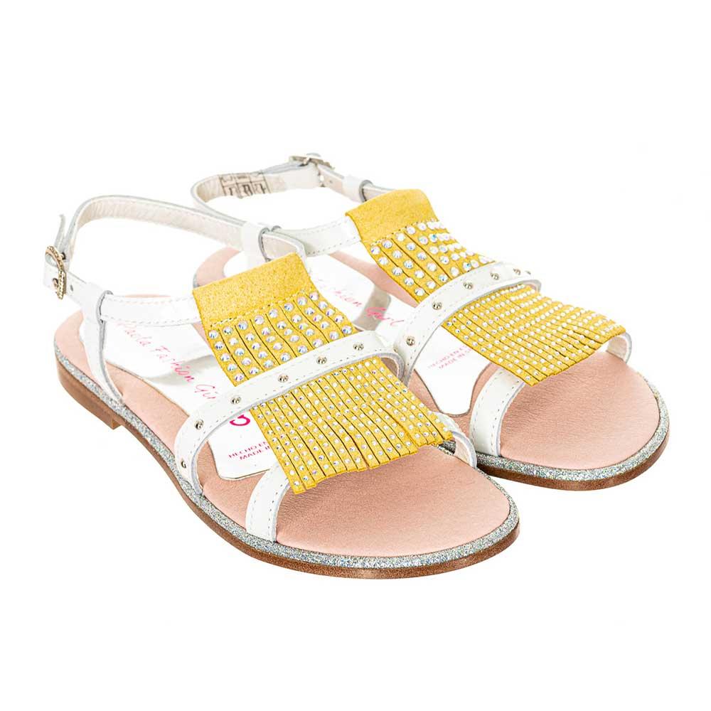 Sandalia piel junior - blanco/mostaza