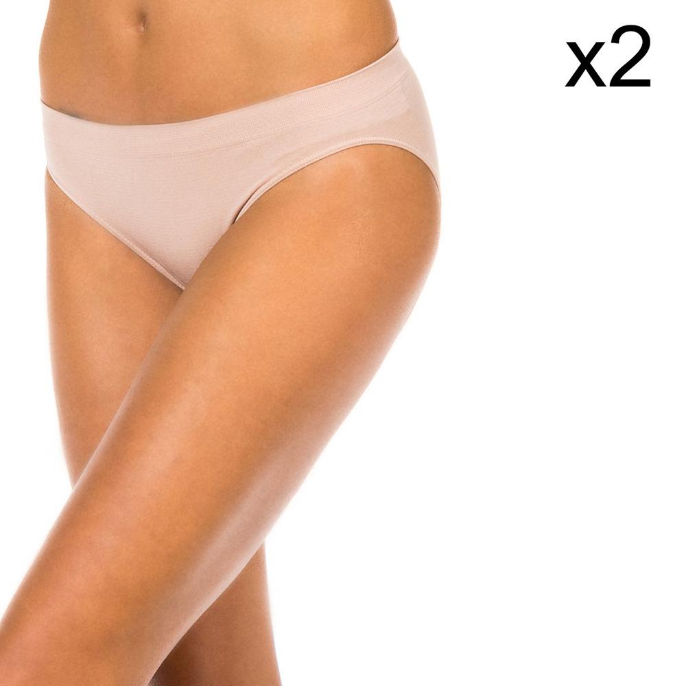 PACK 2 Braguitas microfibra mujer - piel