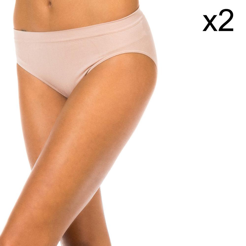 PACK 2 Braguitas altas microfibra mujer - piel