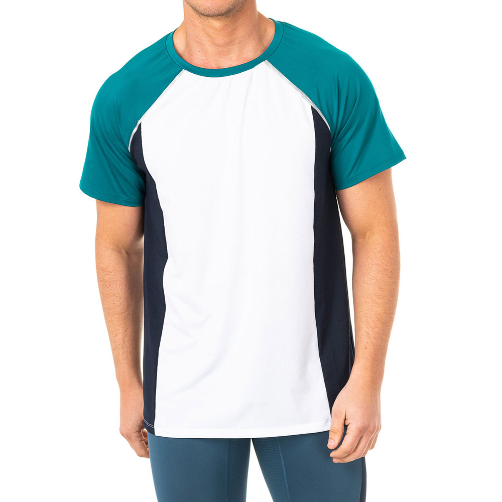 Camiseta deportiva hombre - verde/blanco/azul