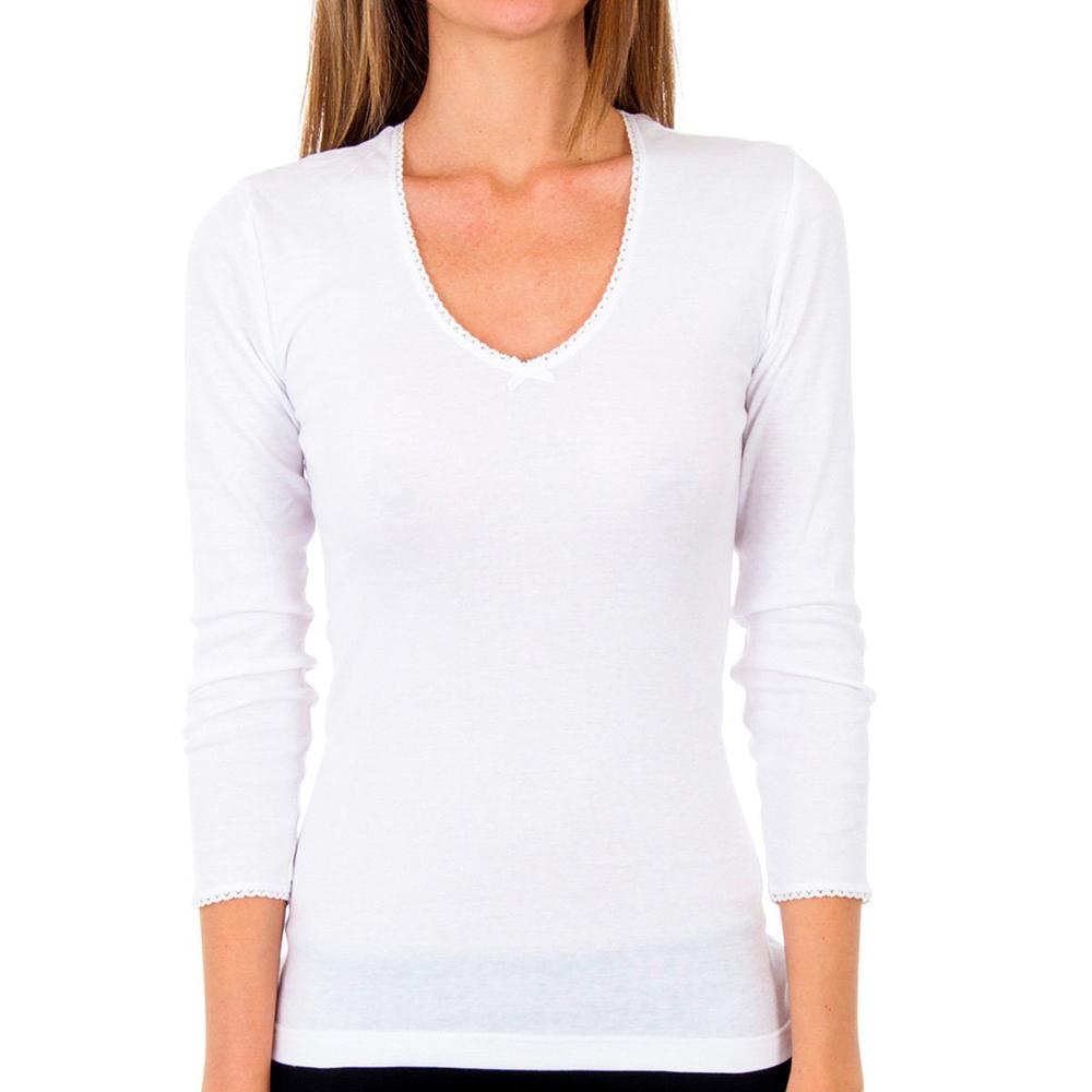 Pack 3 Camisetas m/larga mujer - blanco