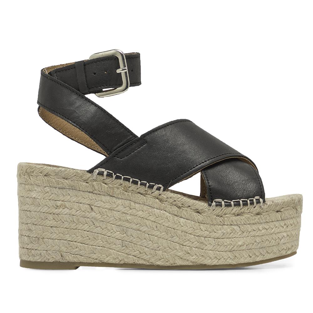 Sandalia plataforma mujer piel - negro