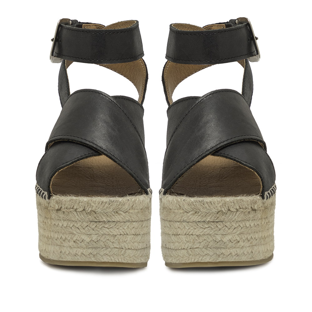 8,5cm Sandalia plataforma piel mujer - negro