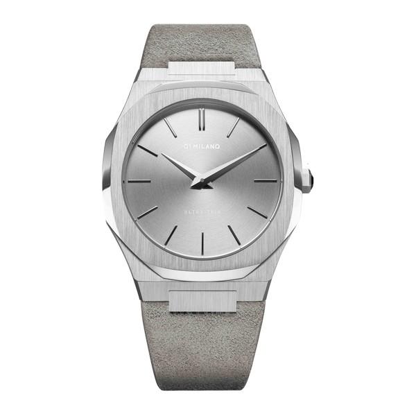 Reloj analógico unisex piel - gris