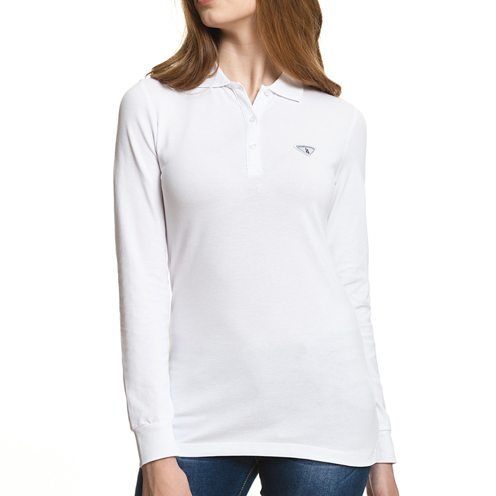 Polo m/larga slim fit - blanco