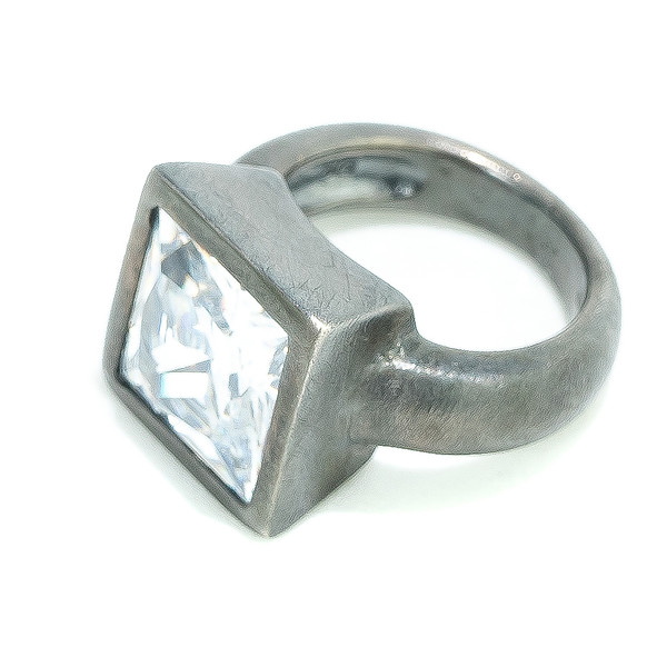 Anillo acero mujer t.12 - gris