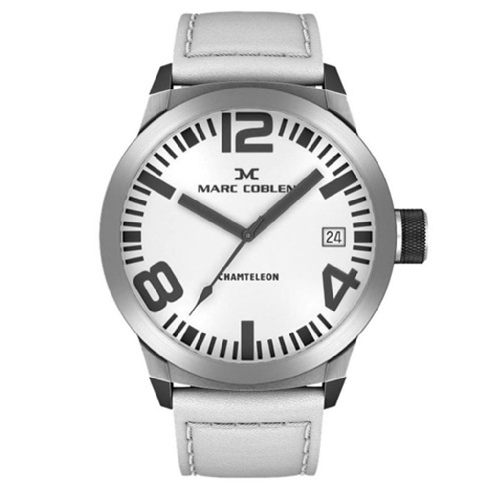 Reloj analógico hombre piel - blanco