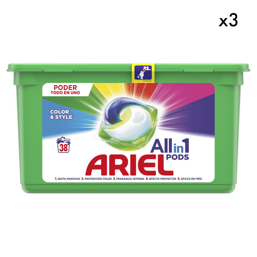 PACK 3 Detergente líquido Ariel pods 3en1