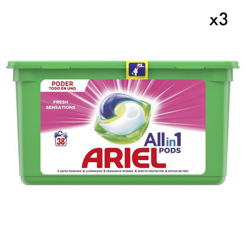 PACK 3 Detergente líquido Ariel pods 3en1 sensaciones