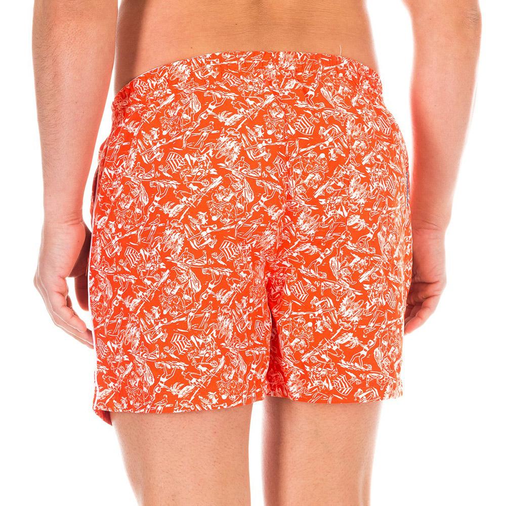 Bañador short hombre - naranja/blanco