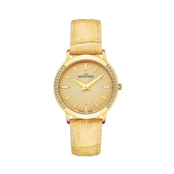 Reloj analógico piel mujer - amarillo
