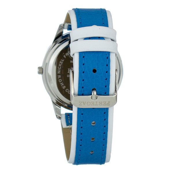 Reloj analogico piel hombre - azul/ blanco