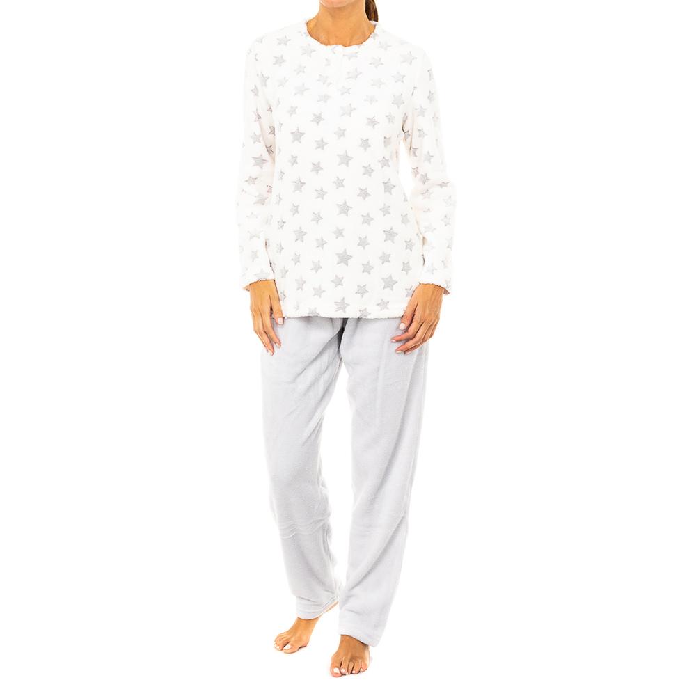 Pijama m/larga mujer - gris/blanco