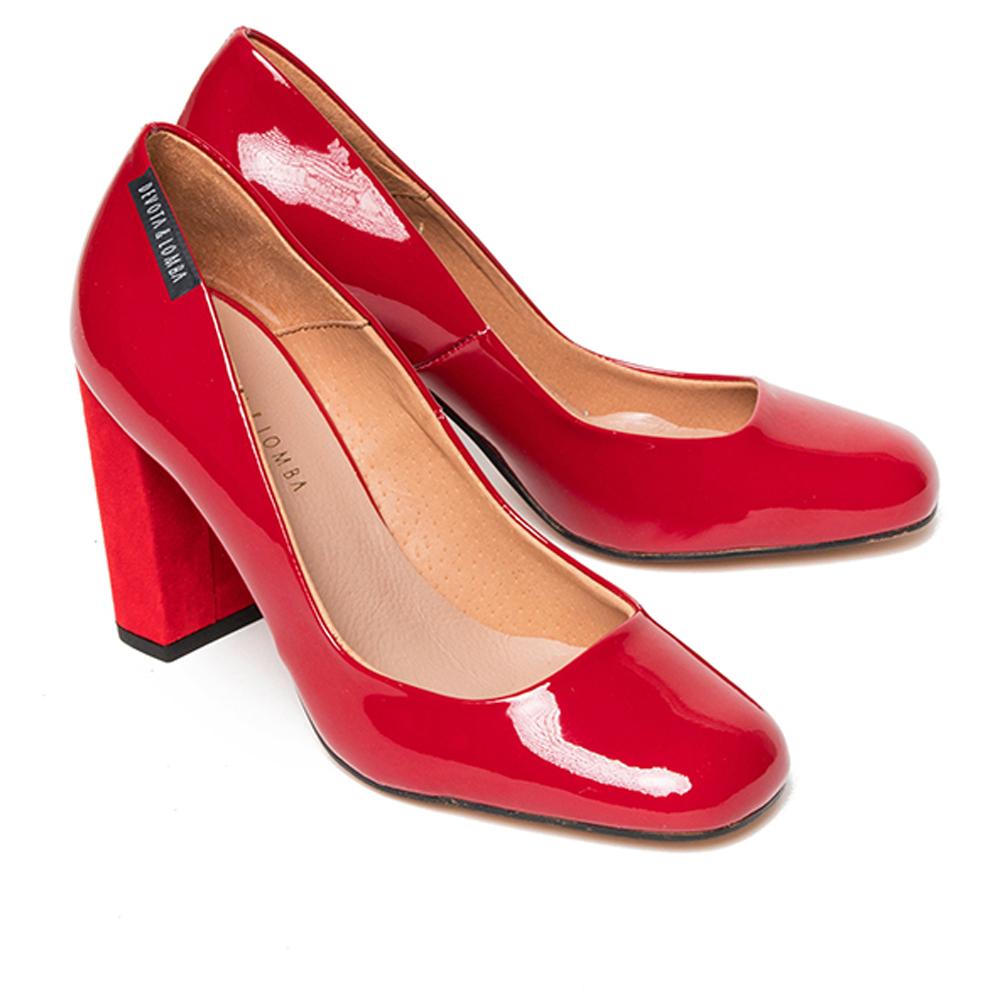 8cm Zapato de salón piel mujer - rojo