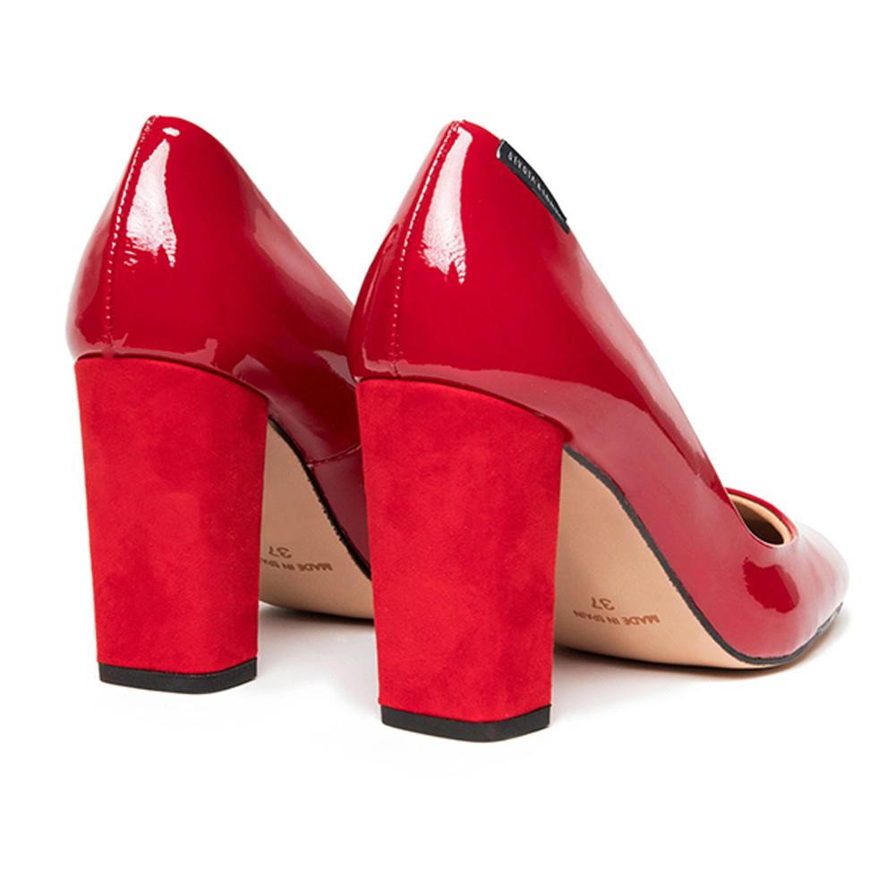 Zapato de tacón piel mujer - rojo