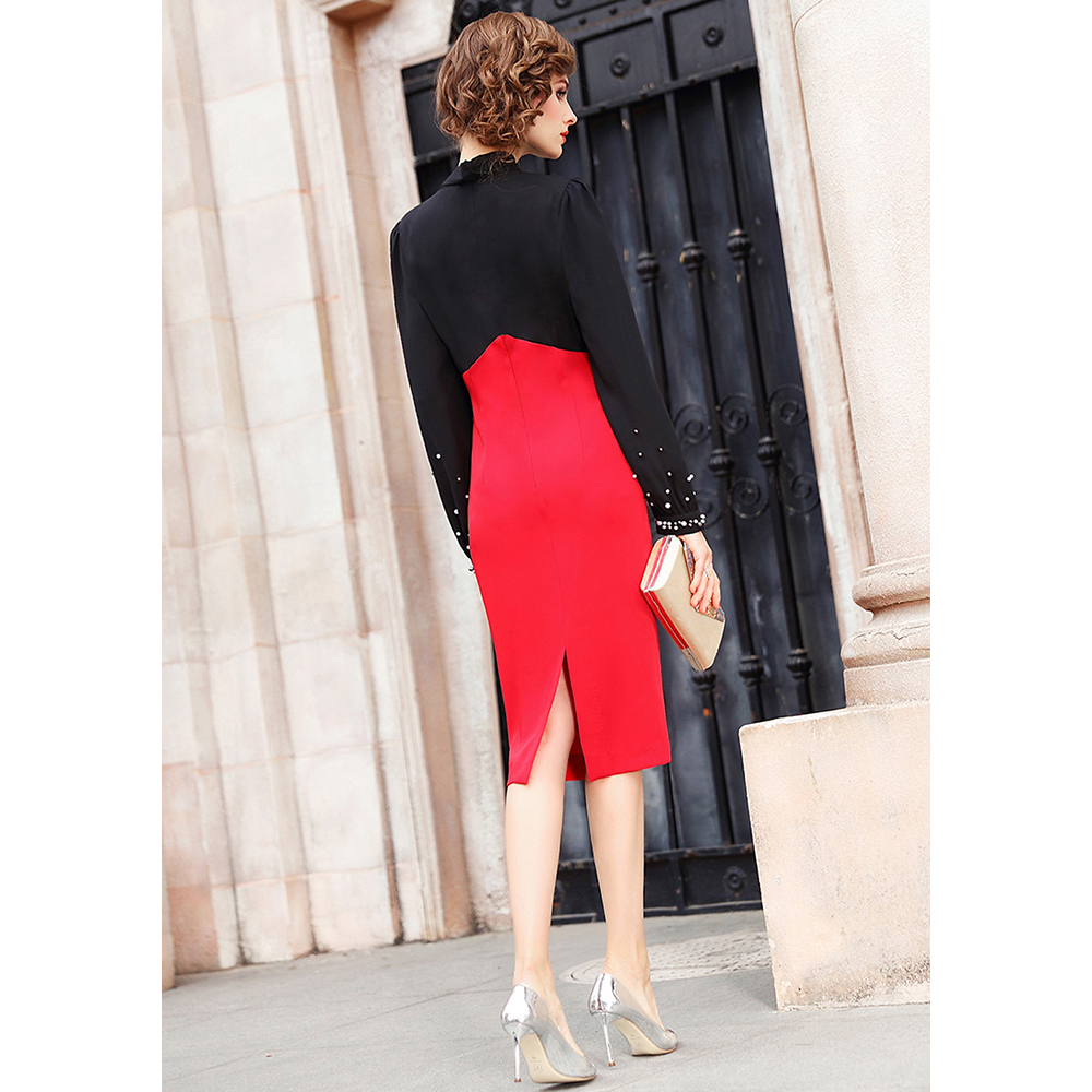 Vestido mujer - negro/rojo