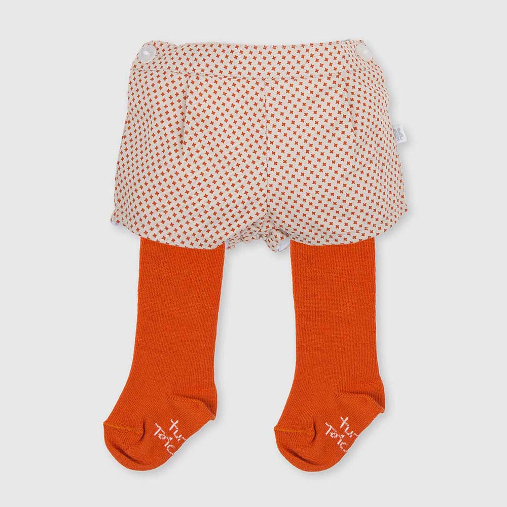 Bombachito c/leotardos bebé niña - naranja/blanco