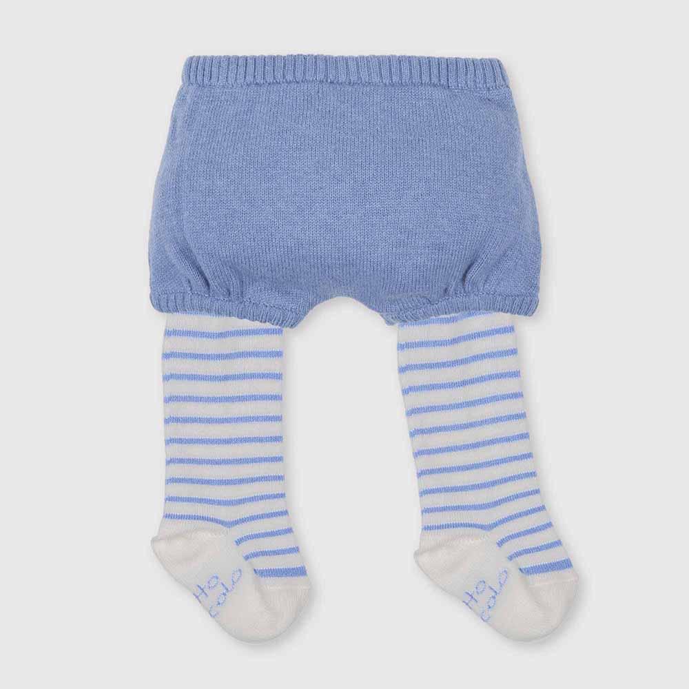 Bombachito c/leotardos bebé niña - azul/blanco