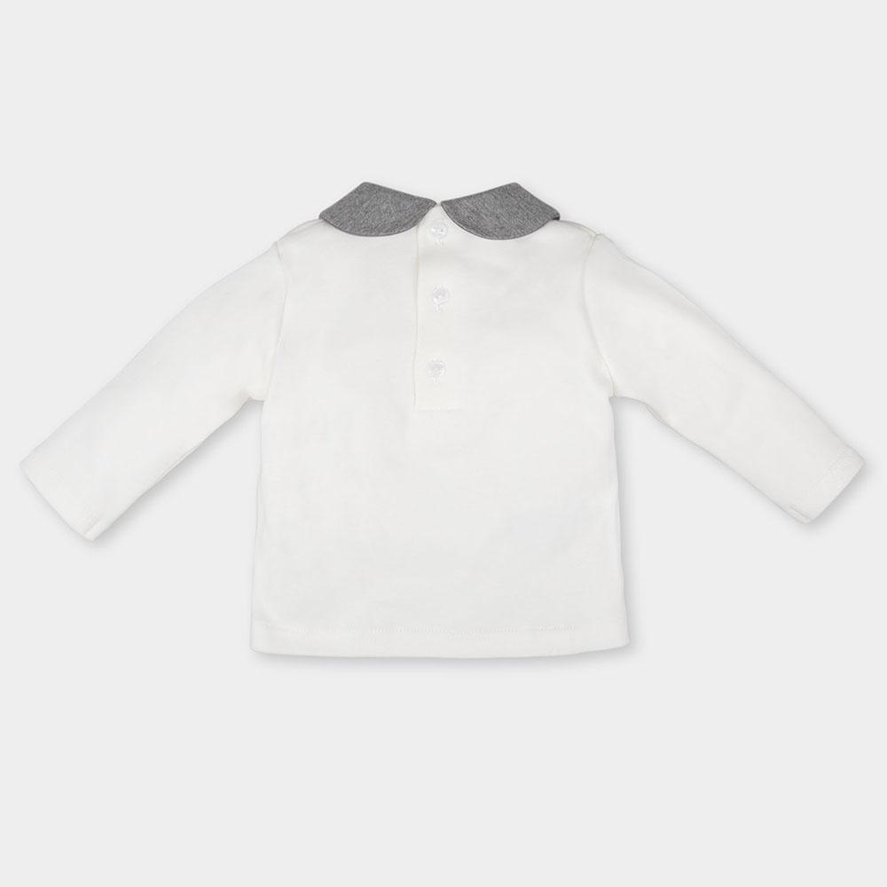Camiseta bebé niña - blanca/gris