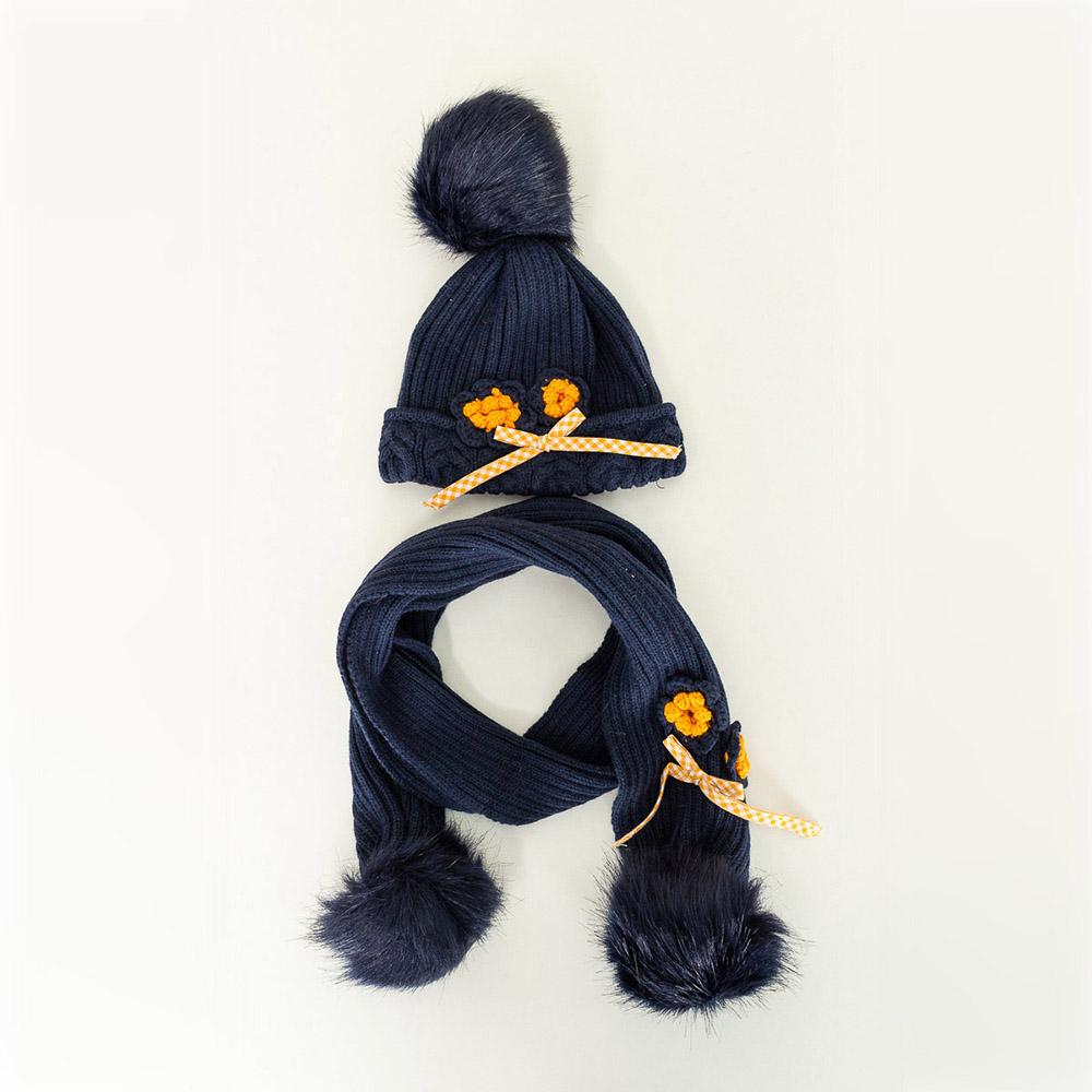 Gorro y bufanda tricot bebé niña - azul marino/naranja