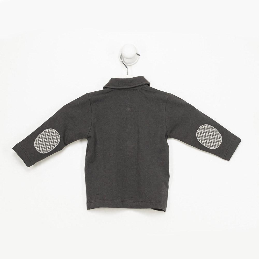 Polo m/larga niño - gris oscuro