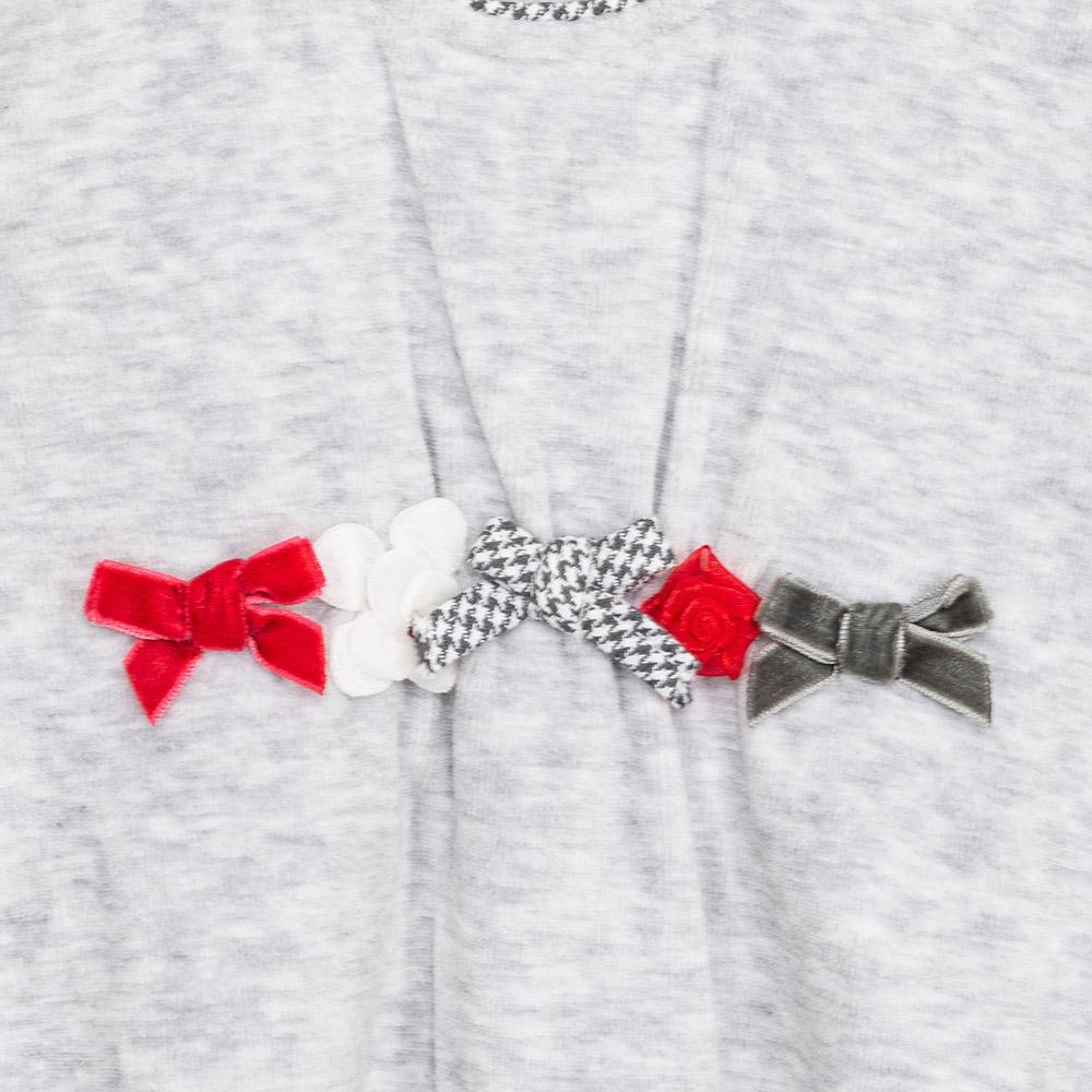 Pijama m/larga bebé niña - gris/rojo