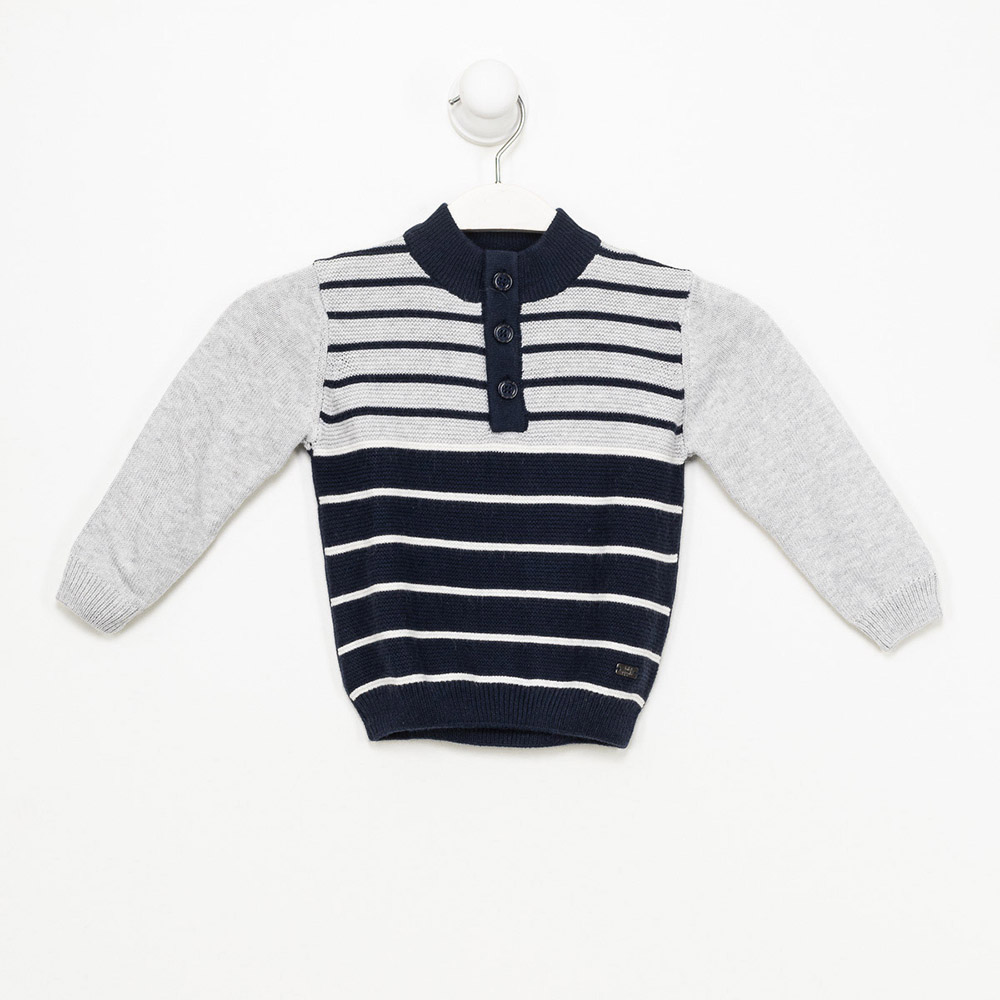 Jersey m/larga niño - azul marino/gris