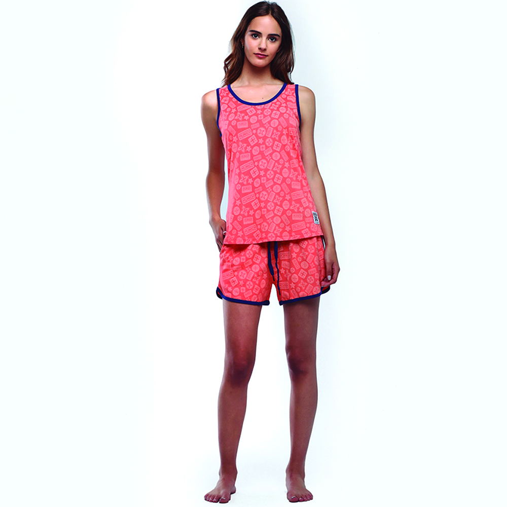 Pijama mujer m/corta - coral/azul marino